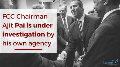 """Photo of FCC Chairman Ajit Pai featuring message """"FCC Chairman Ajit Pai is under investigation by his own agency"""""""